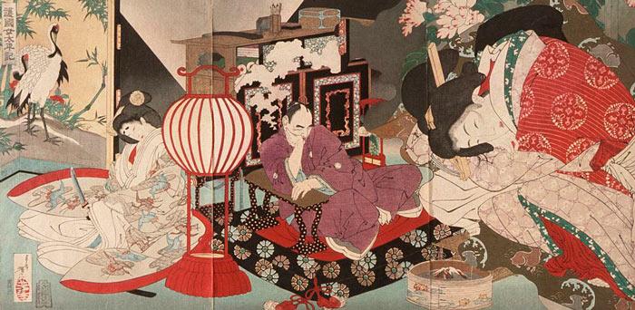 A Tsukioka Yoshitoshi woodblock print entitled A Woman Saving the Nation- A Chronicle of Great Peace