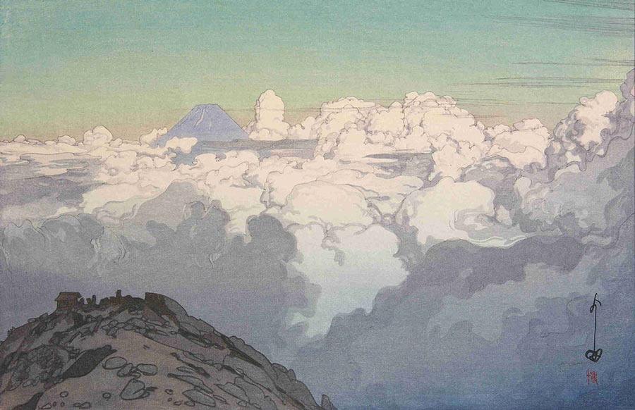 Japanese Woodblock Artists: A View from Komagatake by Hiroshi Yoshida.