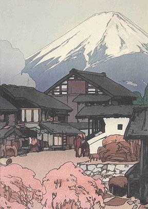 A Hiroshi Yoshida woodblock print entitled Fuji from Funatsu
