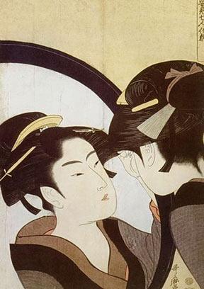 Kitagawa Utamaro Woodblock Print: Beauty at her toilet.