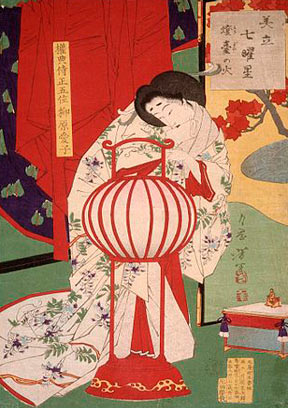 A Tsukioka Yoshitoshi woodblock print entitled A Fire in the Lamp Stand