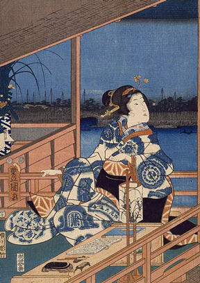 An Ando Hiroshige woodblock print entitled Moonlight View of Tsukuda with Lady on a Balcony