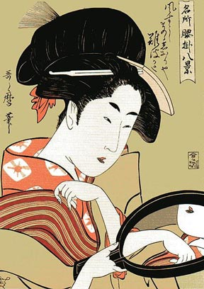 A woman staring into a mirror (17th to 19th Century) by Kitagawa Utamaro