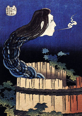 A Hokusai woodblock print entitled A woman ghost appeared from a well