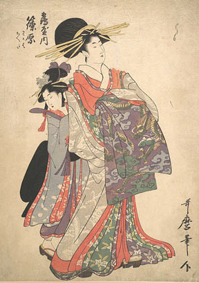 Kitagawa Utamaro woodblock print.