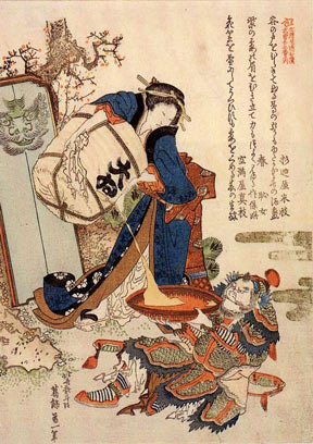 A Hokusai woodblock print entitled The Strong Oi Pouring Sake