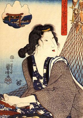 A Japanese Woodblock Print Entitled Opening Shellfish at Fukagawa