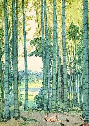 A Hiroshi Yoshida woodblock print entitled Bamboo Grove