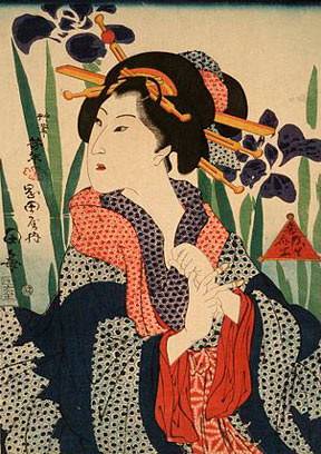 A Tsukioka Yoshitoshi woodblock print entitled Beauty with Irises