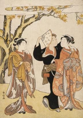 Suzuki Harunobu Woodblock Print: The Waterfall