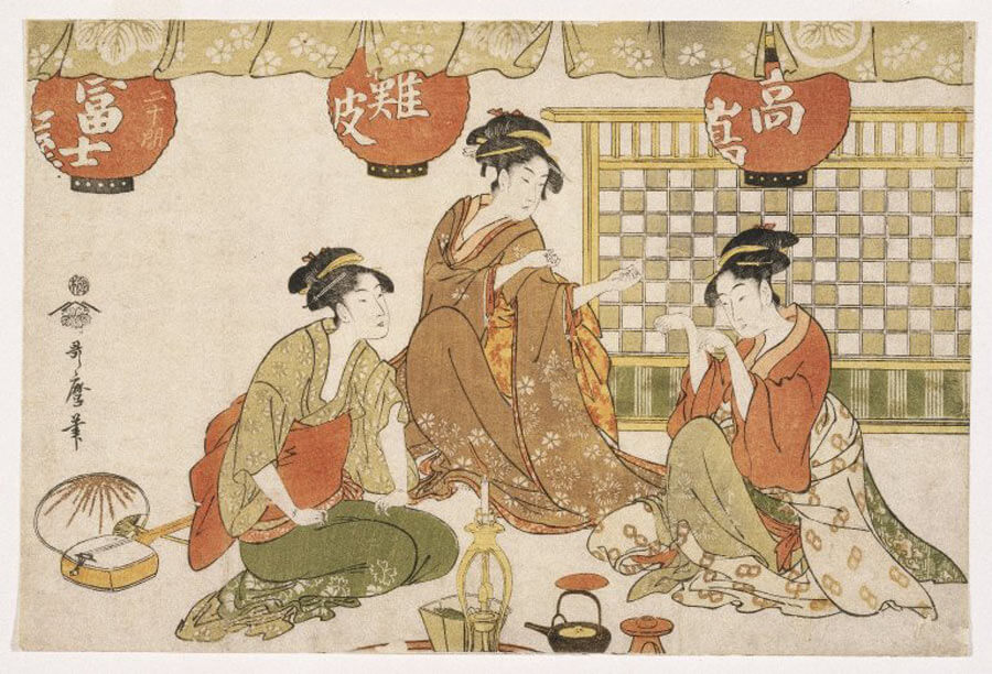 Japanese Woodblock Artists: Kitagawa Utamaro print entitled Three Seated Ladies with Lanterns Tea Pot Candle Holder and Stringed Instrument