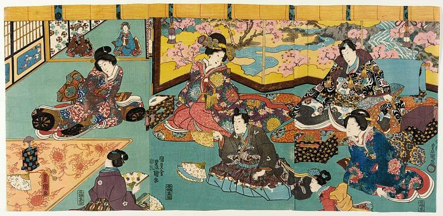 An Utagawa Kunisada woodblock print entitled Fashionable Man Entertained in a House of Pleasure