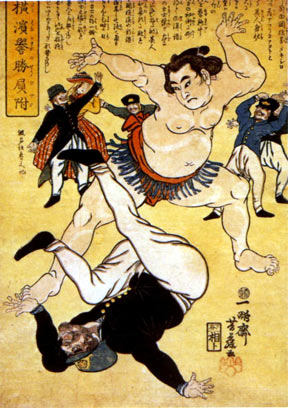 Sumo-e print entitled Foreigner and Wrestler at Yokohama