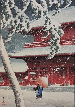 Shiba Zojoji (1925) from the 12 views of Tokyo series by Kawase Hasui.