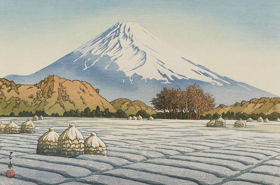 Japanese Woodblock Artists: Frosty Morning In Nagaoka by Kawase Hasui.