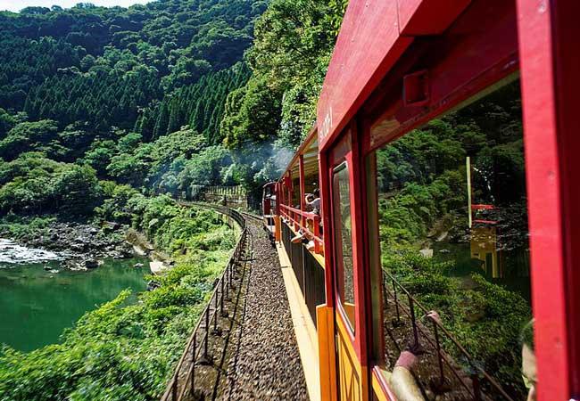 The Sagano Scenic Railway Train.