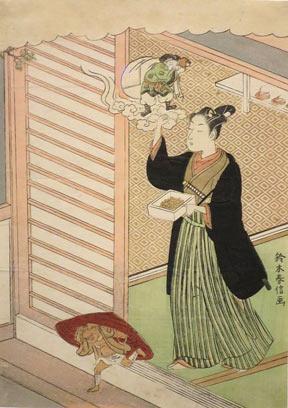 Suzuki Harunobu Woodblock Print: Demon-Chasing Ceremony