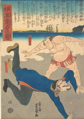 Sumo-e print entitled Sumo Wrestler Tossing a Foreigner