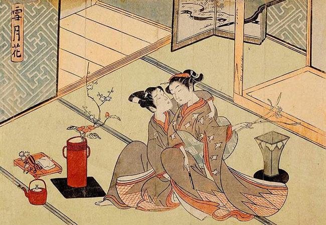 Japanese Woodblock Artists: Suzuki Harunobu print entitled Flowers from the series Snow, Moon, Flowers