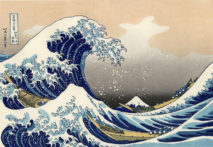 Japanese woodblock artists: The great wave off Kanagawa by Hokusai.