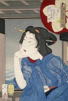 A Japanese woodblock print of a geisha in the fifth or sixth year of Meiji (1888) by Tsukioka Yoshitoshi