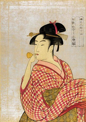 Young woman blowing on a poppin (1790) by Kitagawa Utamaro.