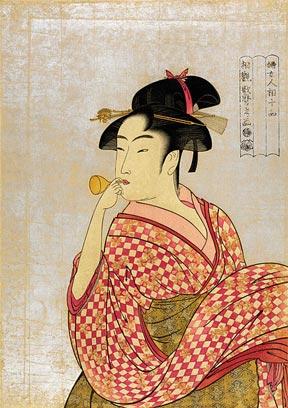 Young woman blowing on a poppin (1790) by Kitagawa Utamaro.