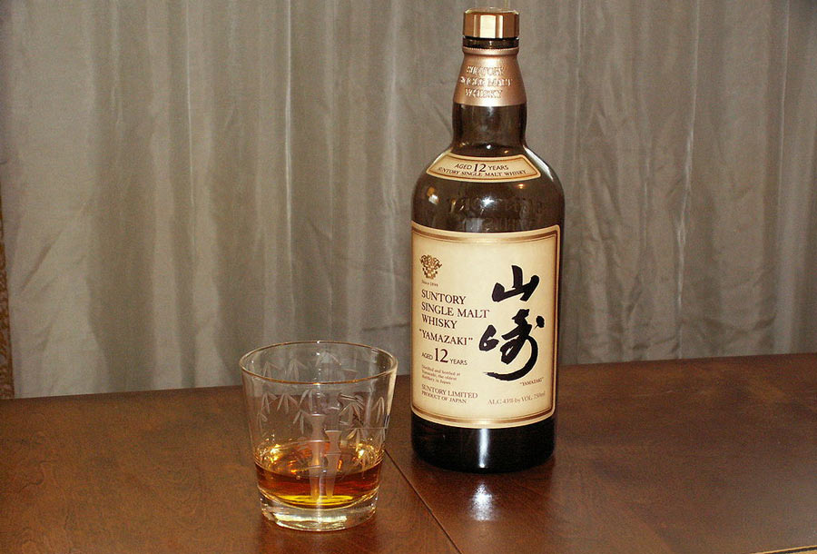 A bottle of Yamazake Single Malt Whiskey produced by the Mars Shinshu Distillery.