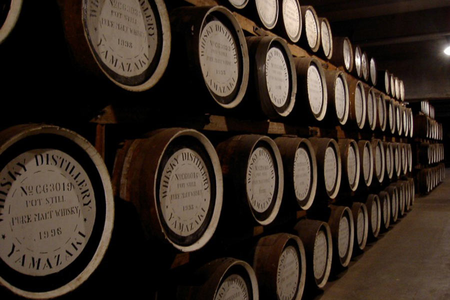 Whiskey barrels at the Yamazaki Distillery.