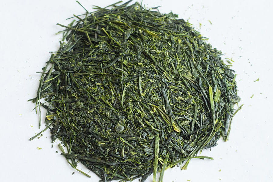 A pile of Kagoshima sencha tea leaves.