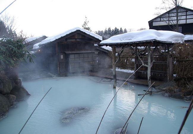 A Japanese Onsen in Winter.