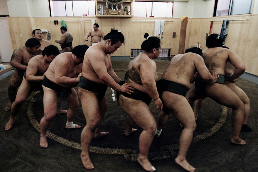 Wrestlers training at a Tokyo sumo stable.