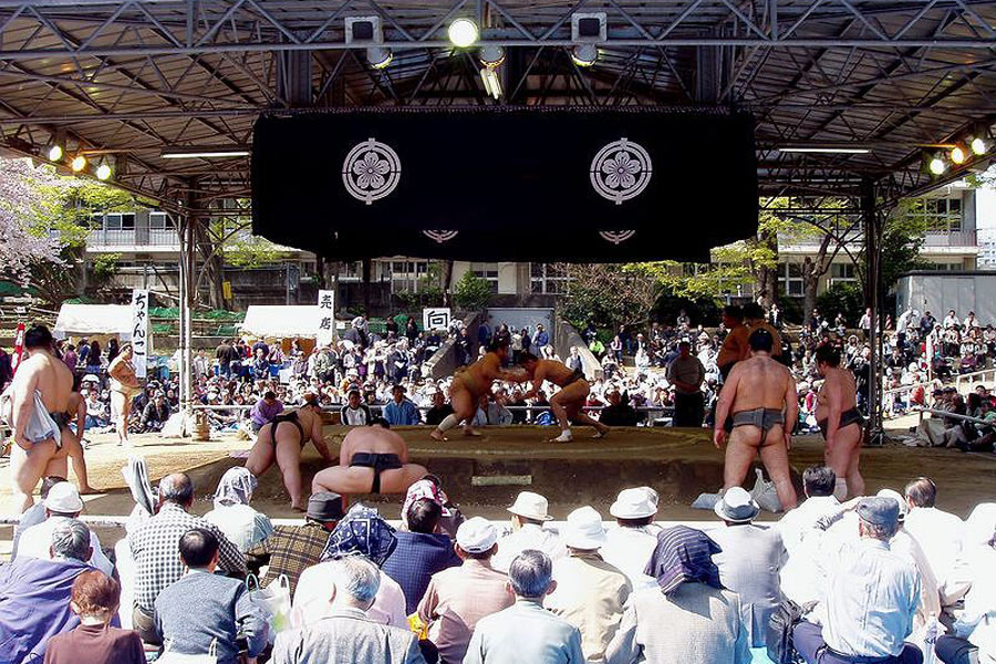 Yearly sumo exhibition at the Yasukuni shrine.