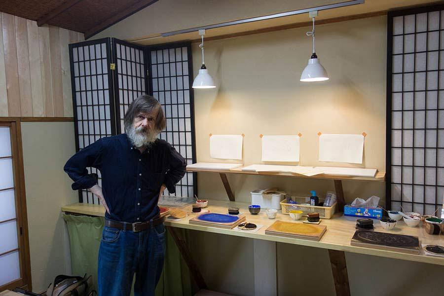 Learn the art of Mokuhanga at the David Bull Woodblock Workshop.