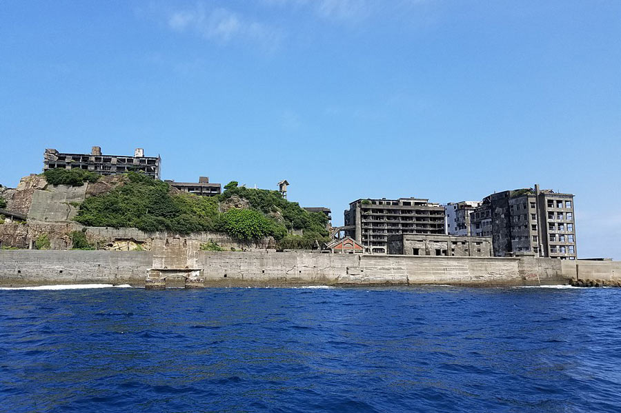 Hashima island from the sea.