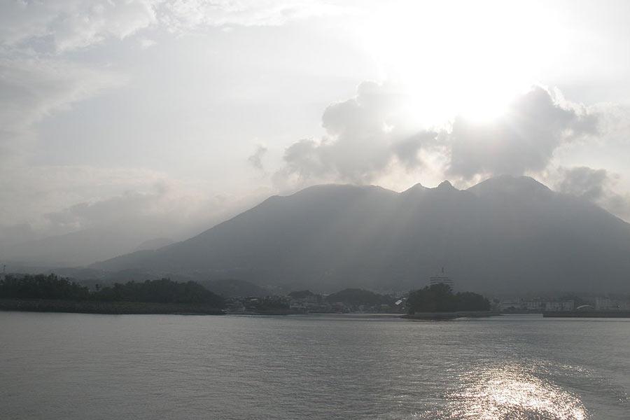 A view of Mount Unzen on the horizon.