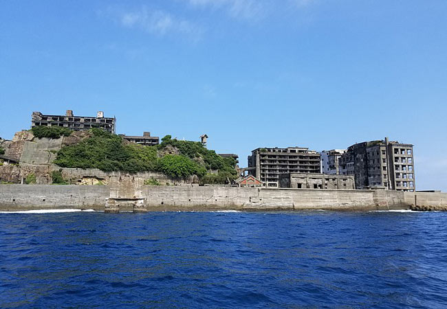 Approaching Hashima from the ocean.