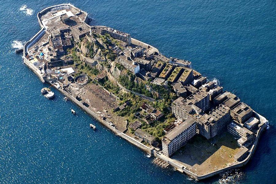 Hashima Island from above.