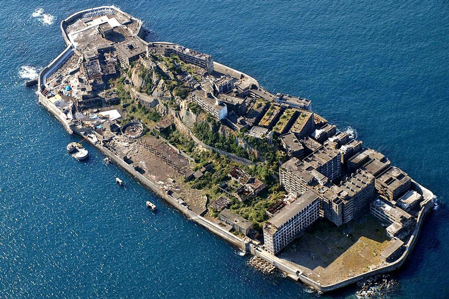 Hashima Island from above.