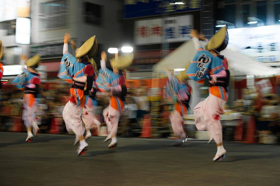 People dancing at the Koenji Awaodori festival in Tokyo City.