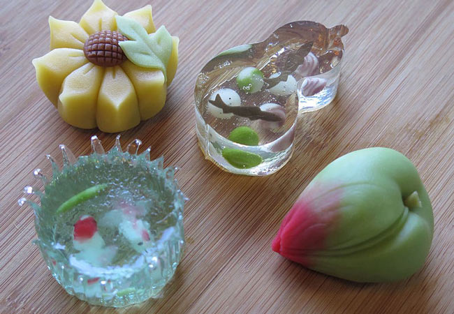 Summer wagashi sweets for tea ceremonies.