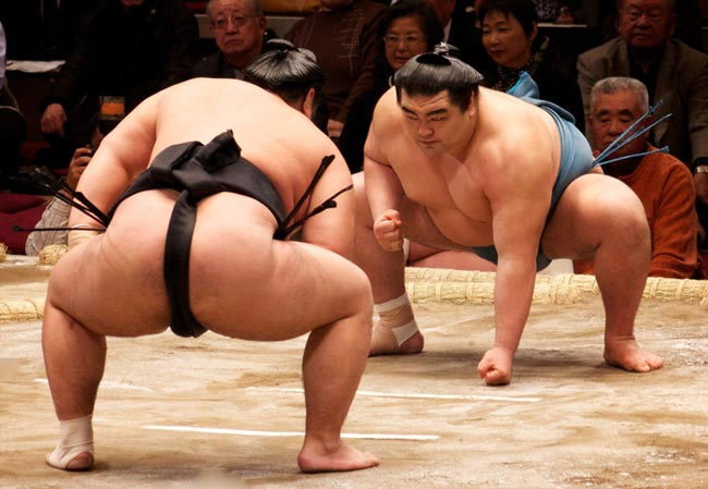 Sumo wrestlers facing each other off.
