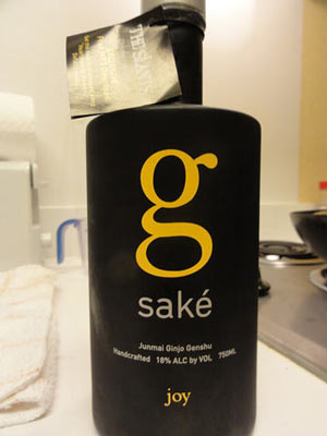 A bottle of Junmai Ginjo Genshu sake.