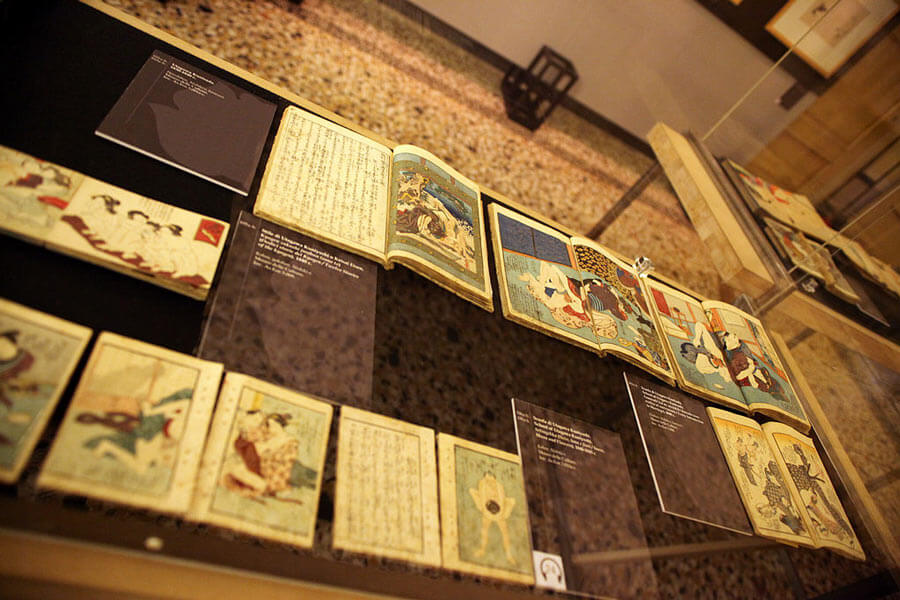 Shunga books on display at an Italian museum.