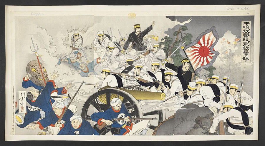 A historical Japanese woodblock print of the Japanese army taking an enemy fortress at Pyongyang.