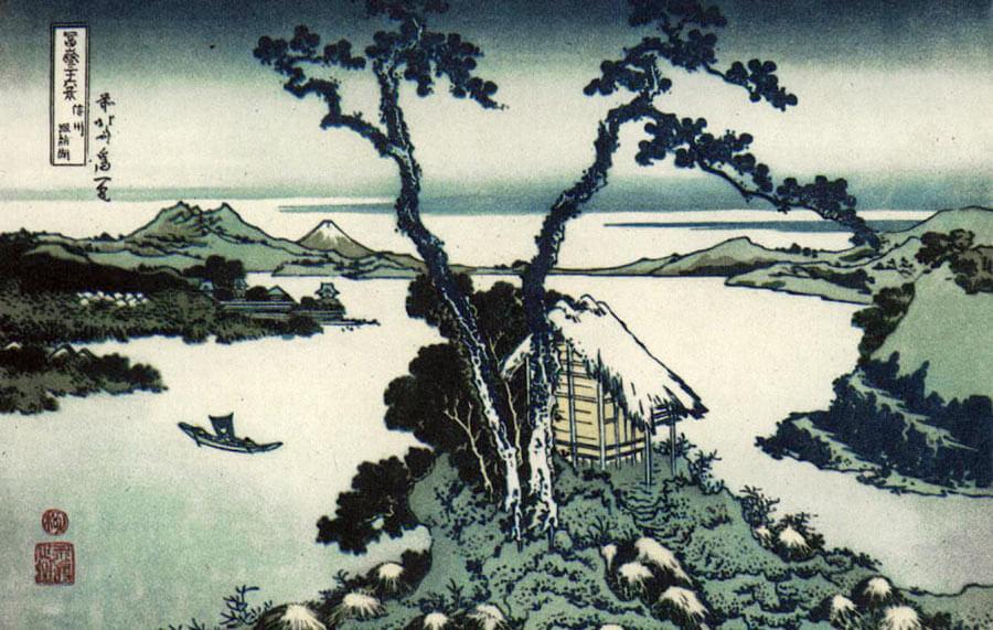 The Suwa Lake (1849) from the 36 views of Mount Fuji series by Hokusai