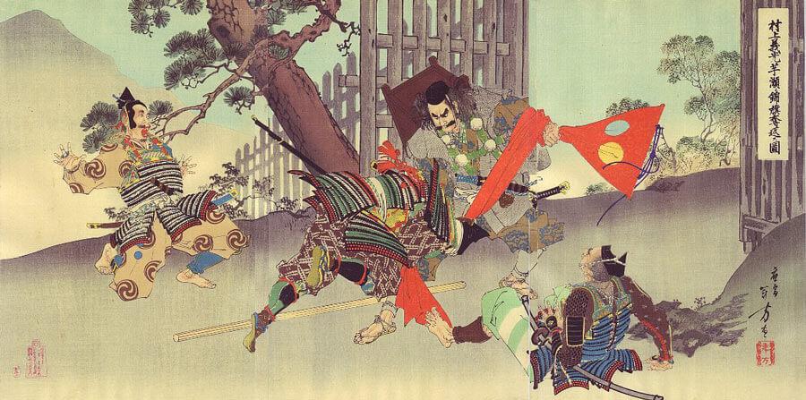 A musha-e print of Samurai warriors in battle