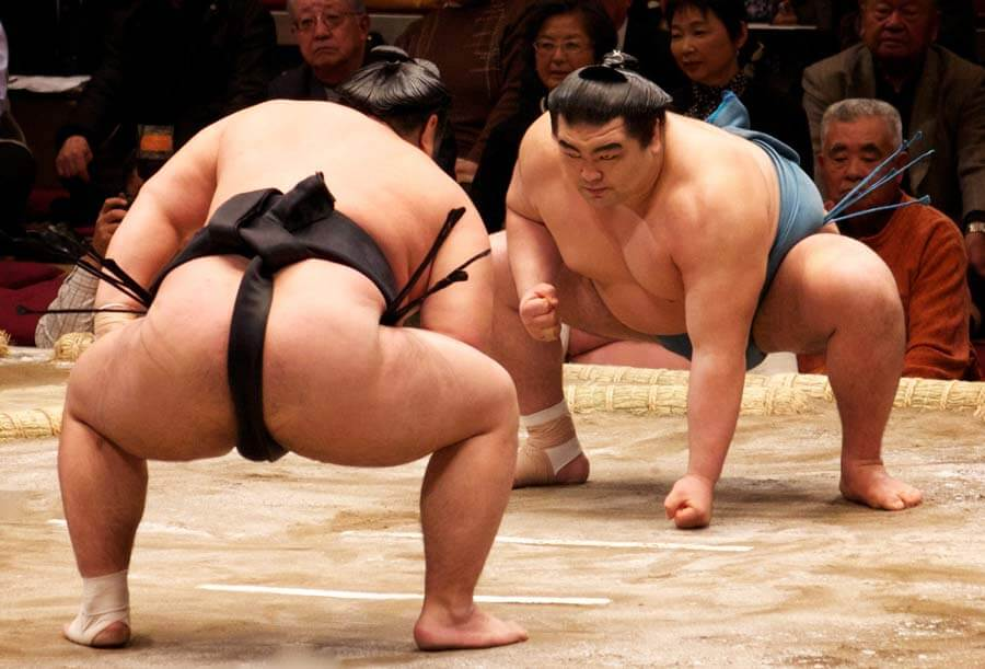 Sumo wrestlers facing each other off in the ring.