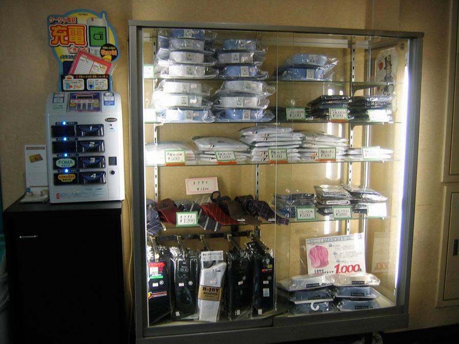 Capsule hotel vending machines.