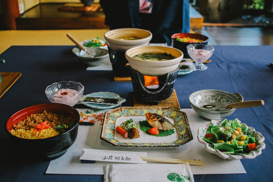 A typical meal you can expect during your stay at a ryokan.